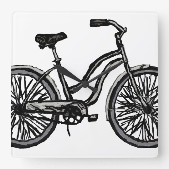 Bicycle Line Drawing Clock. Pick your colour! Square