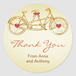 bicycle love thank you round stickers