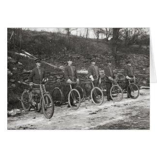 Bicycle & Motorcycle Police, 1915. Vintage Photo Greeting Card
