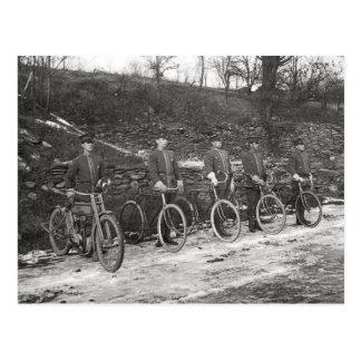 Bicycle & Motorcycle Police, 1915. Vintage Photo Postcard