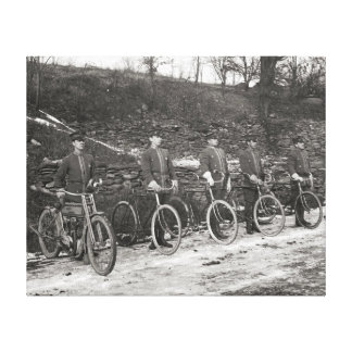 Bicycle & Motorcycle Police, 1915. Vintage Photo Stretched Canvas Prints
