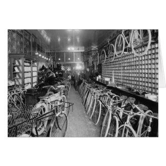 Bicycle & Motorcycle Shop, 1910 Greeting Card
