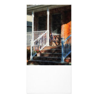 Bicycle on Porch Personalized Photo Card