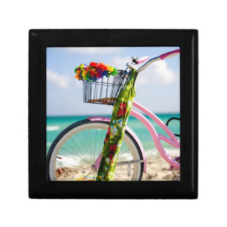 Bicycle On The Beach | Miami, Florida Small Square Gift Box