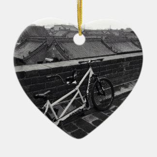 Bicycle on Xi'an City Wall, China Ceramic Heart Decoration