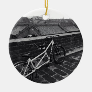 Bicycle on Xi'an City Wall, China Round Ceramic Decoration