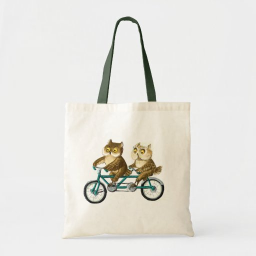 Bicycle owls tote bags