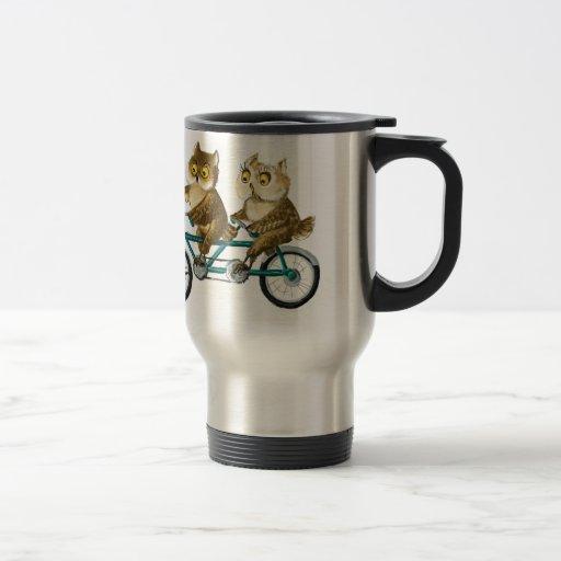 Bicycle owls mugs