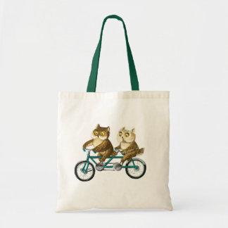 Bicycle owls tote bag
