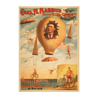 Bicycle Parachute act in mid-air Theatre Canvas Print