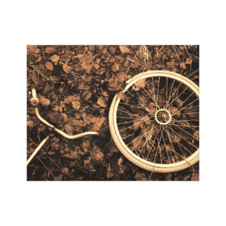 Bicycle parts with autumn leaves canvas print