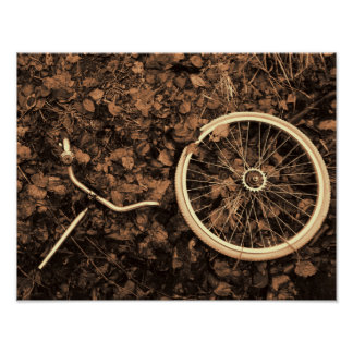 Bicycle parts with autumn leaves poster