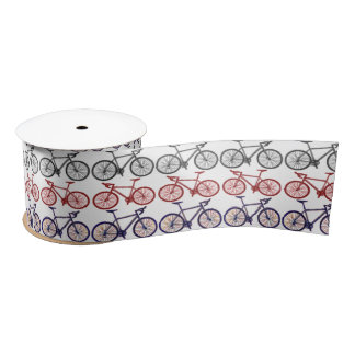 Bicycle Print Satin Ribbon