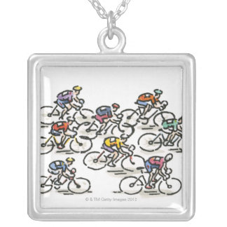 Bicycle Race Silver Plated Necklace