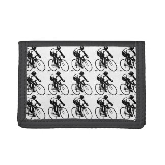 Bicycle Racer Bike Rider in Black Sports Pattern Trifold Wallet