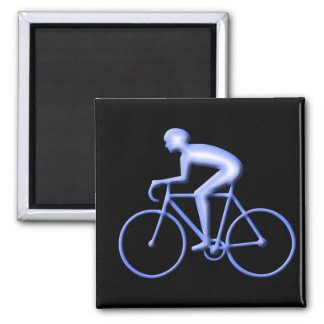 Bicycle Racing in Blue Square Magnet