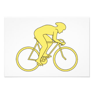 Bicycle Rider in Yellow Invitations