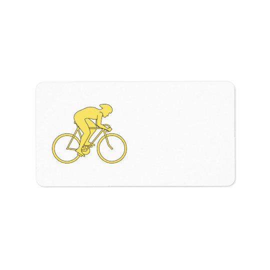 Bicycle Rider in Yellow. Label