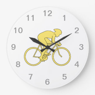 Bicycle Rider in Yellow. Large Clock
