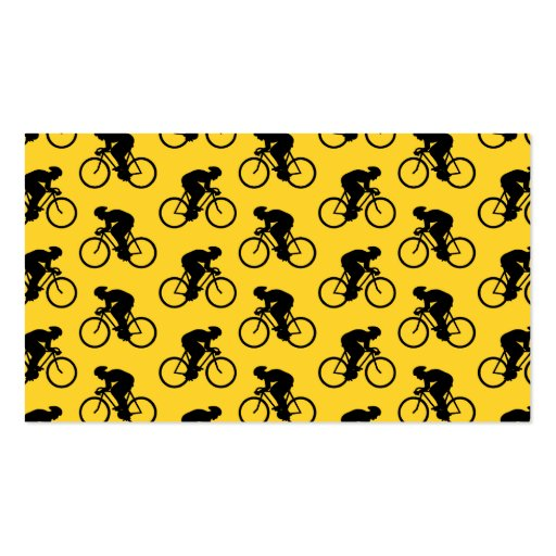 Bicycle Rider Pattern. Yellow and Black. Business Card Template