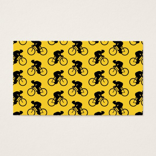 Bicycle Rider Pattern. Yellow and Black. Business Card