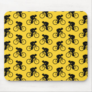Bicycle Rider Pattern. Yellow and Black. Mouse Mat