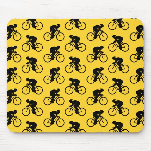 Bicycle Rider Pattern. Yellow and Black. Mouse Pad