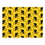 Bicycle Rider Pattern. Yellow and Black. Post Cards