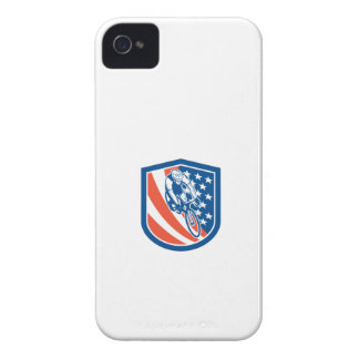 Bicycle Rider USA Flag Shield Retro iPhone 4 Covers