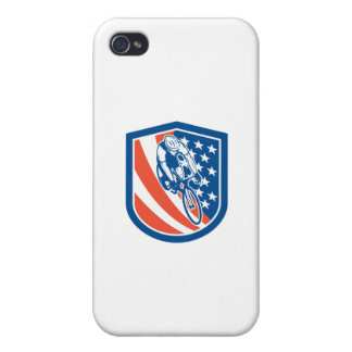 Bicycle Rider USA Flag Shield Retro iPhone 4 Cover