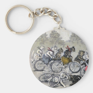 Bicycle Riding Cats Basic Round Button Key Ring