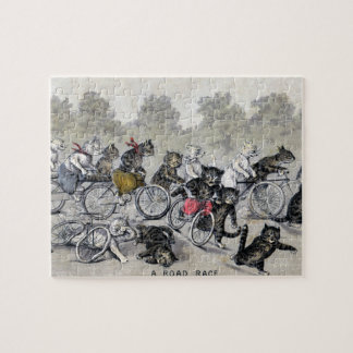 Bicycle Riding Cats Jigsaw Puzzle