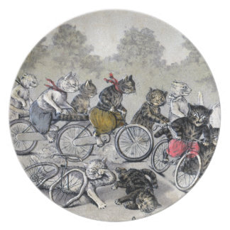 Bicycle Riding Cats Plate