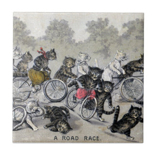 Bicycle Riding Cats Tile
