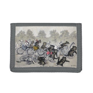 Bicycle Riding Cats Tri-fold Wallets