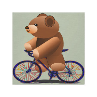 Bicycle Riding Teddy Bear Canvas Print