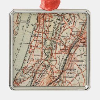 Bicycle Roads in New York and Conneticut 3 Silver-Colored Square Decoration