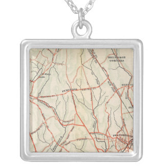 Bicycle Roads in New York and Conneticut 3 Silver Plated Necklace