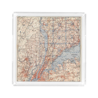 Bicycle Roads in New York and Conneticut 4 2 Acrylic Tray