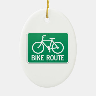Bicycle Route Sign Christmas Ornament