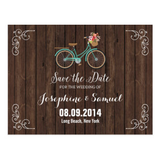 Bicycle Save The Date Announcement Wood Postcard