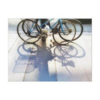 Bicycle Shadows on Sidewalk City Street Photograph Canvas Print