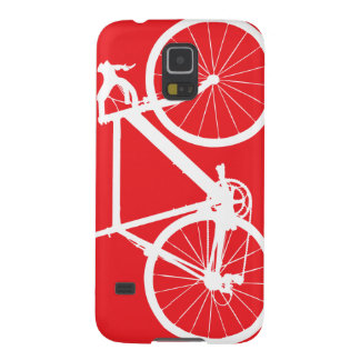 Bicycle Silhouette Minimal Art Red and White Galaxy S5 Cover