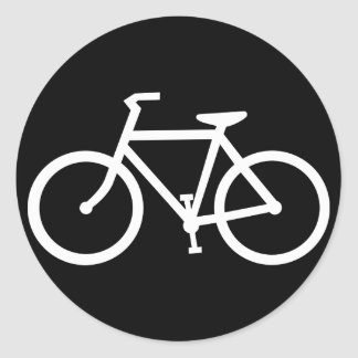 bicycle silhouette round sticker