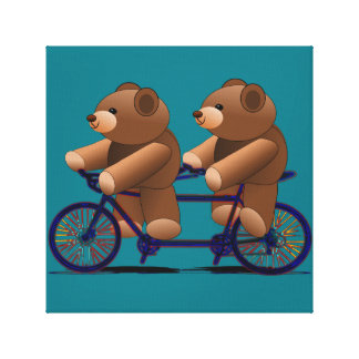 Bicycle Tandem Teddy Bear Print