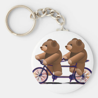 Bicycle Tandem, Teddy Bear Print Basic Round Button Key Ring