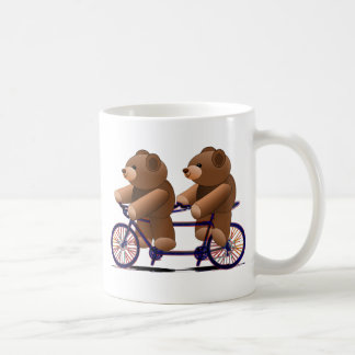 Bicycle Tandem, Teddy Bear Print Basic White Mug
