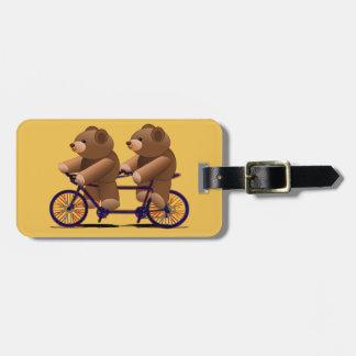 Bicycle Tandem, Teddy Bear Print Luggage Tag