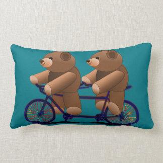 Bicycle Tandem Teddy Bear Print Lumbar Cushion