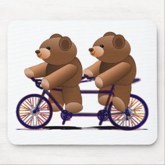 Bicycle Tandem, Teddy Bear Print Mouse Mat